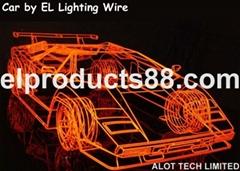 EL發光線賽車裝飾案例 冷光線模型 沙盤裝飾