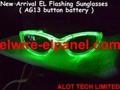 新款無線EL冷光線太陽眼鏡 熒光舞表演道具