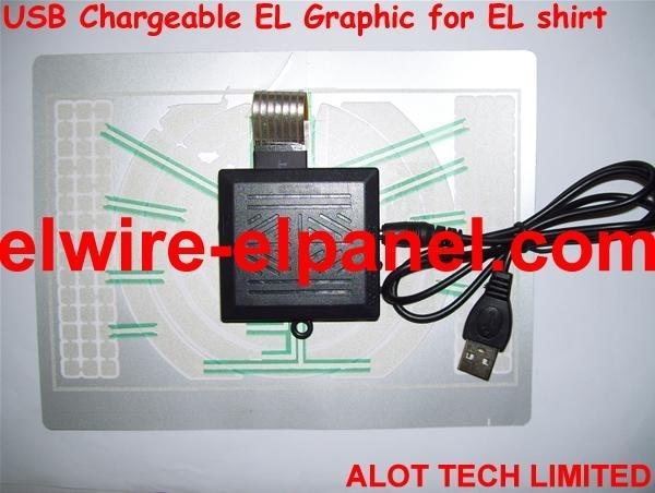 USB Charger Power EL Flashing Shirt