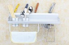 好伊家廠家直銷 加厚易清洗拆裝廚房多功能太空鋁雙杯置物刀架