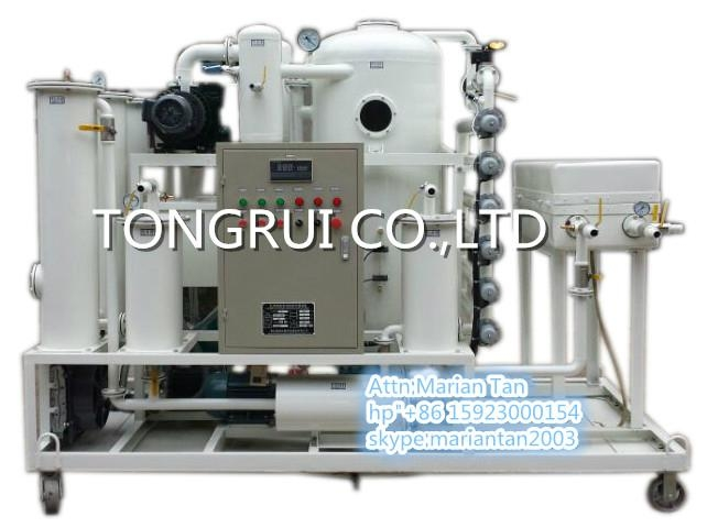 used hydraulic vacuum oil filtration system with capacity 6000Liters per hour