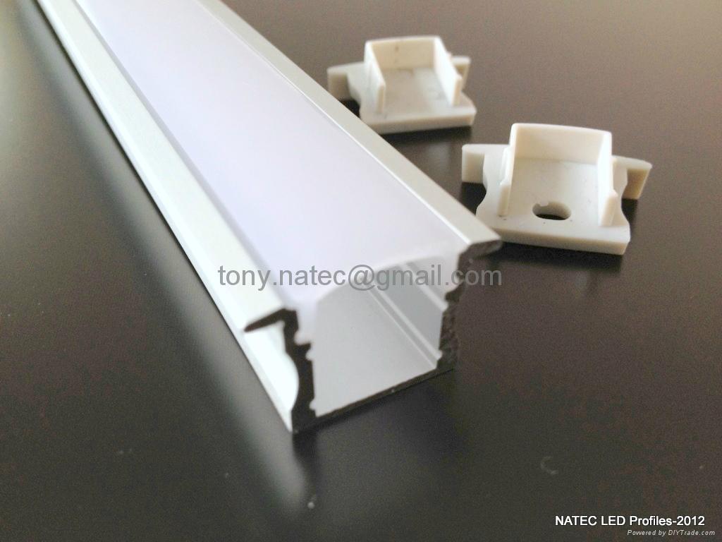 recessed 15mm led strip profile led strip profile storage shelves led profiles rls007 natec. Black Bedroom Furniture Sets. Home Design Ideas