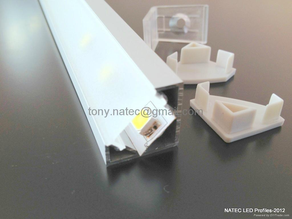 ALUMINIUM LED PROFILE FOR LED STRIPS - 45° - 2M 3