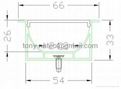 Quality Aluminum LED Profile recessed 66mm profile