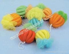 1 flower & 1 Pumpkin Shape Mesh Bath Sponge (YQ1011)