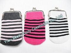 Sock Coin Purse Bag Simple Stripey