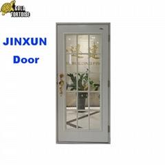 Full view steel glass door,Steel Entry Door With Wood Edge White Primed