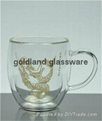 耐热玻璃双层把手杯定制咖啡杯厂家
