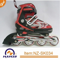 Boy and girl 4 size adjustable semi soft inline roller skate shoe