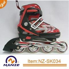Boy and girl 4 size adjustable semi soft inline roller skate shoe