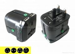 全球通旅行轉換插帶雙USB充電