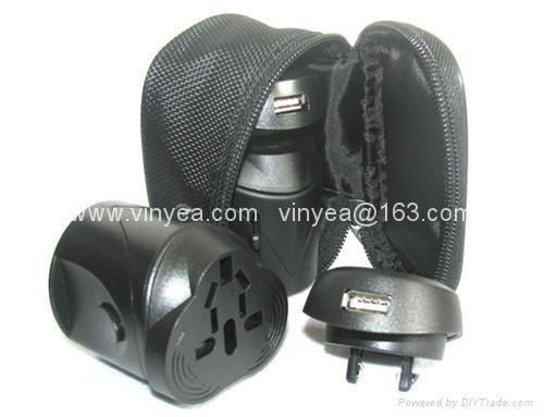 旅游转换插头插座带USB充电器 2