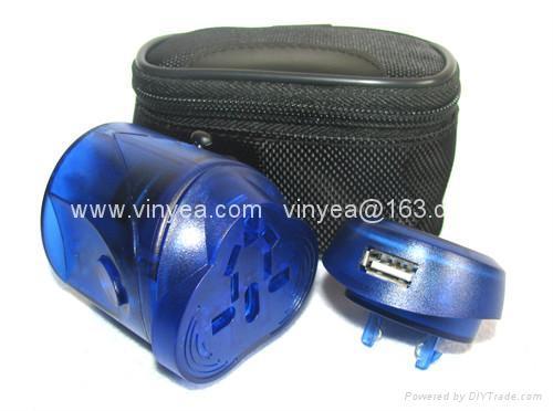 旅游转换插头插座带USB充电器 3