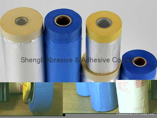 Outdoor Used Blue Paper Taped Masking Film 2