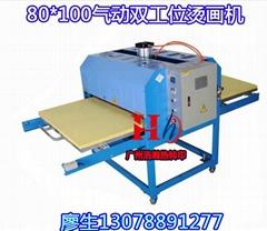 80*100气动双工位烫画机大型热转印压烫机烫钻机