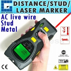 5 in 1 Distance Meter Stud Metal Live Wire Detector Scanner & Laser Marker Tool
