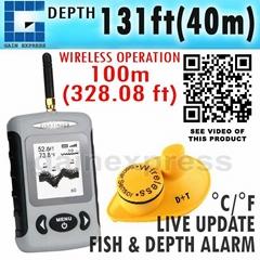Wireless 40m Depth Fish Finder Sonar Sensor Dot Matrix Bottom Contour