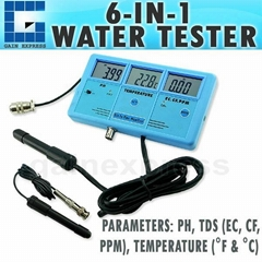 6-in-1 Multi-Function Meter Tester EC CF TDS PH °C °F