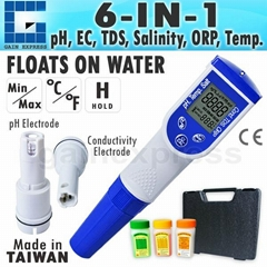 6in1 Water Tester Combo Pen pH ORP EC TDS Salinity and Temperature