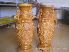 紅豆杉雕刻花瓶