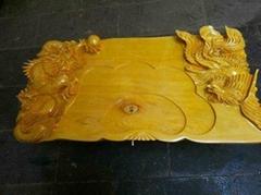 榧木雕刻茶盤