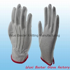 anti-slip white cotton waiter glove/working glove/pvc dots glove