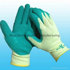 Men's green latex rubber palm coated work gloves with elasticated wrist