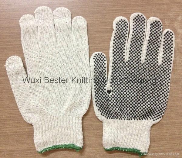 無縫滌棉針織點塑手套 1