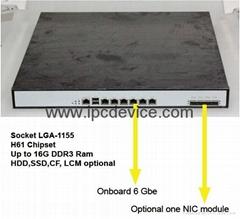 Firewall hardware 1U Rackmount Intel H61 network appliance