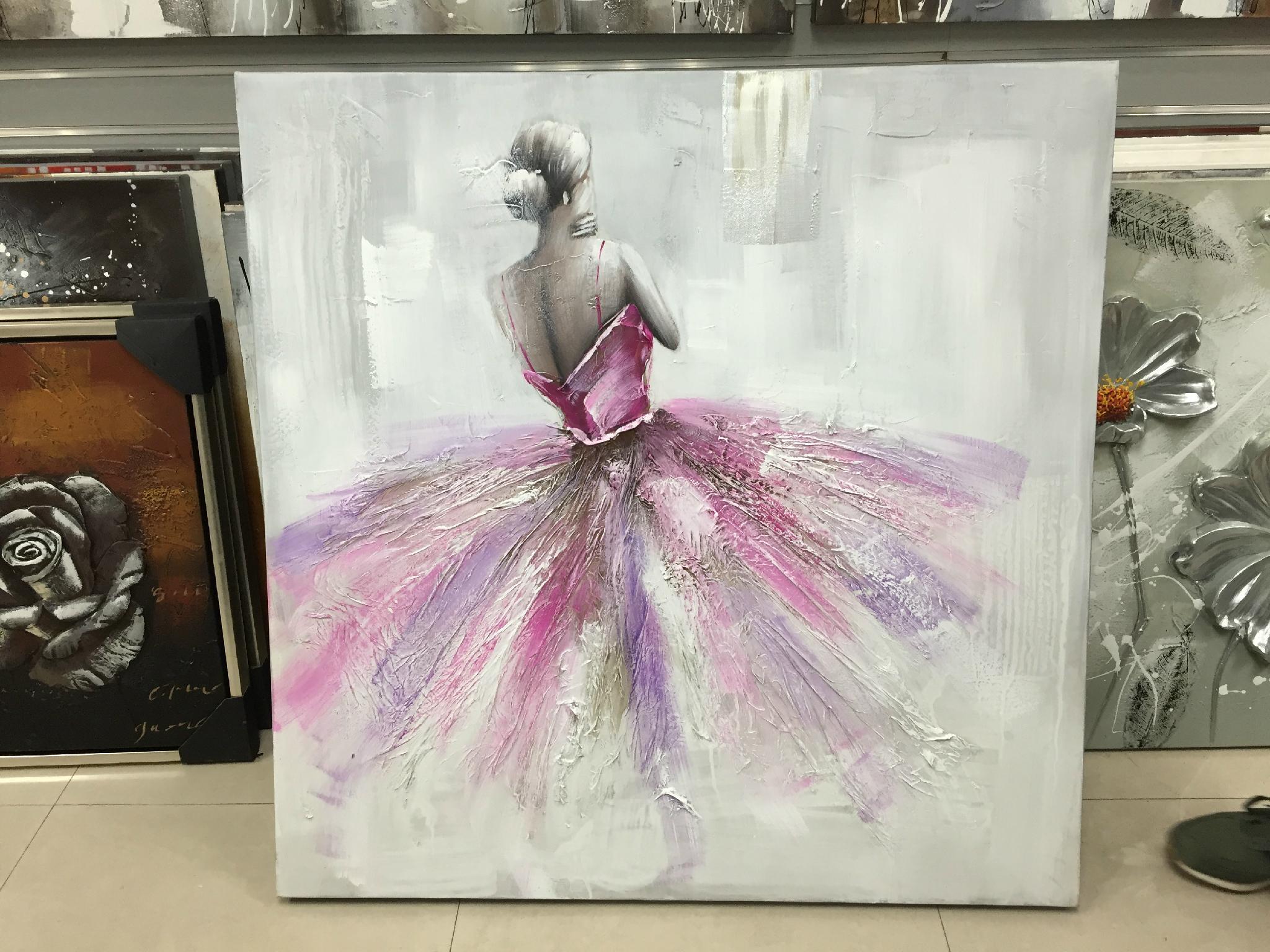 Moden Decorative 3d Handmade White Flower Oil Painting Heavy Texture