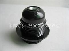 E27-黑電木 全牙 自鎖燈頭