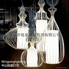 歐式水母鳥籠鐵藝情調咖啡館家裝燈具