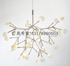 Firefly LED white leaf chandelier