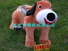 毛绒卡通动物电瓶车