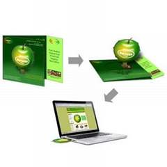 Folded paper USB web key, trifold USB webcard, URL auto launch in almost all pc