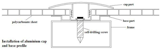 aluminium cap & base profile polycarboate sheet accessory aluminium H connector 3