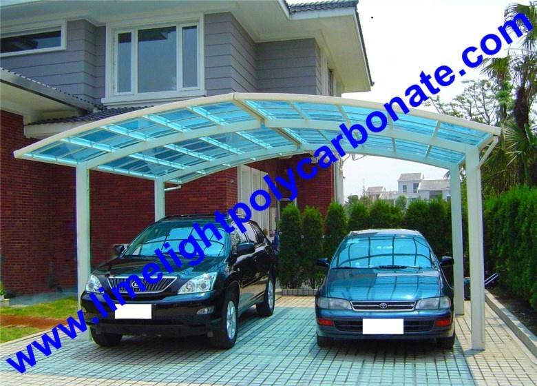 Double aluminium carport with white frame and blue - Carport double alu ...
