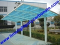 Double aluminium carport with white frame and blue polycarbonate solid roofing 8