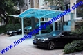Double aluminium carport with white frame and blue polycarbonate solid roofing 3