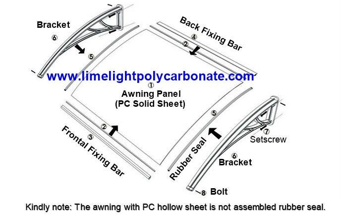 Polycarbonate awning assembling instruction