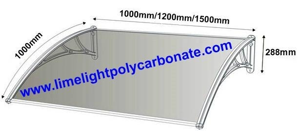 Polycarbonate awing dimension