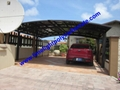double aluminium carport with dark brown