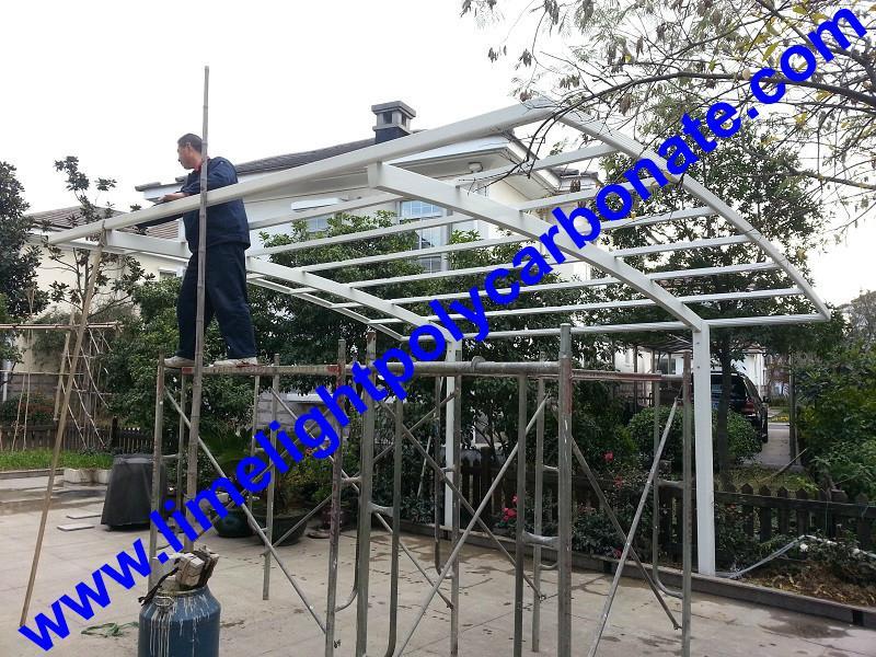 Grey aluminium frame carport with grey polycarbonate glazing carport awning 4