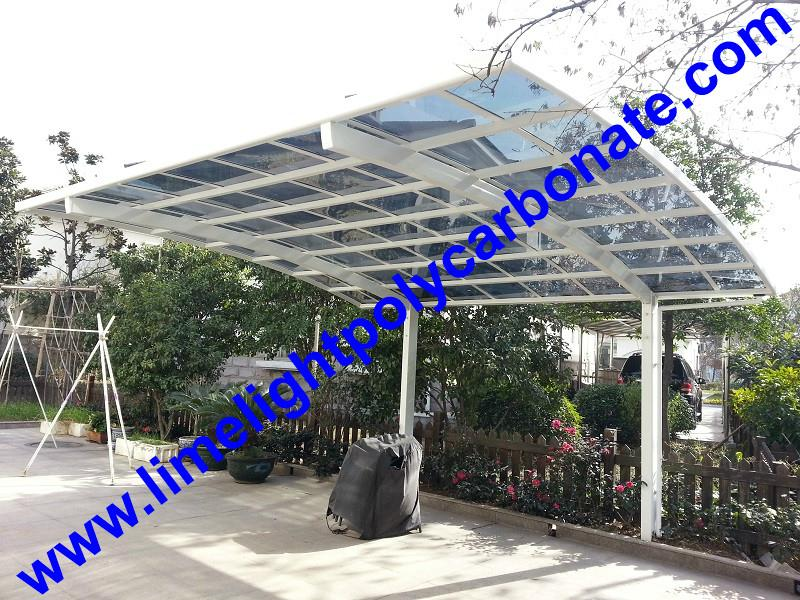 White aluminium frame and light grey polycarbonate solid sheet aluminium carport 2