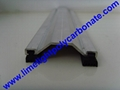 Quality aluminium capping bar with EPDM gasket for multiwall polycarbonate sheet