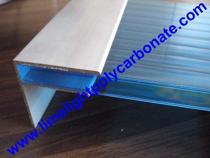 Aluminium F profile for end closure of PC sheet on the beam or side wall fixing 10