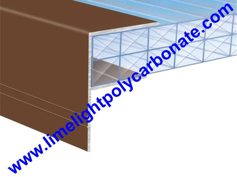 Aluminium F profile for end closure of PC sheet on the beam or side wall fixing 3