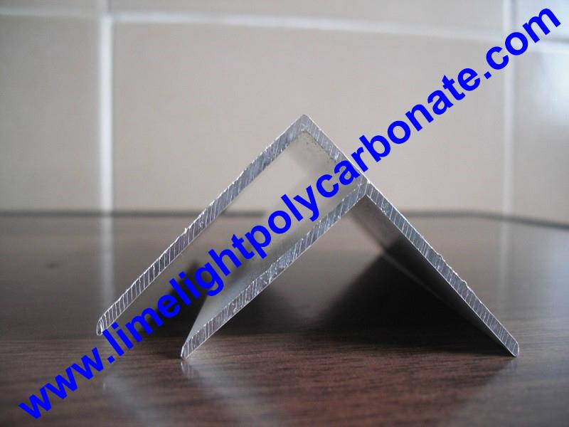 Aluminium F profile for end closure of PC sheet on the beam or side wall fixing 13