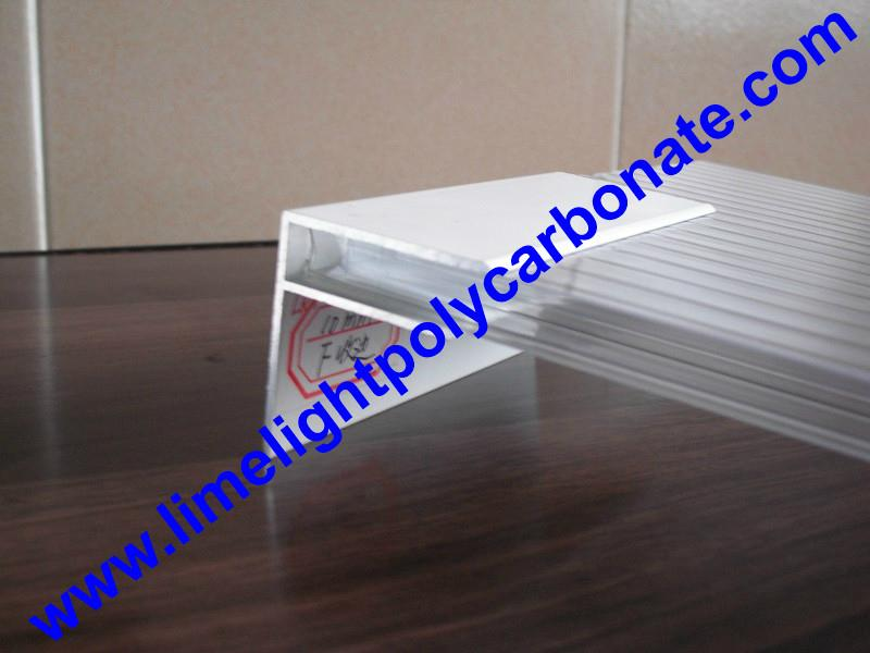 Aluminium F profile for end closure of PC sheet on the beam or side wall fixing 5