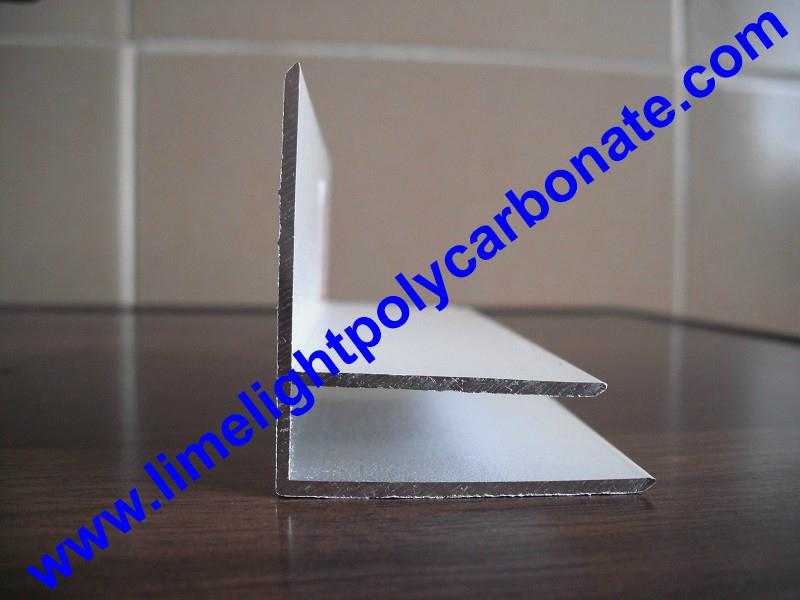 Aluminium F profile for end closure of PC sheet on the beam or side wall fixing 14